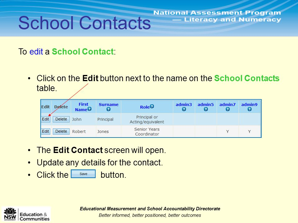 Educational Measurement and School Accountability Directorate Better informed, better positioned, better outcomes To edit a School Contact: School Contacts Click on the Edit button next to the name on the School Contacts table.