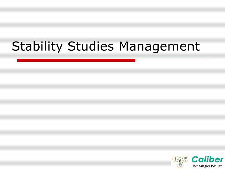 Stability Studies Management