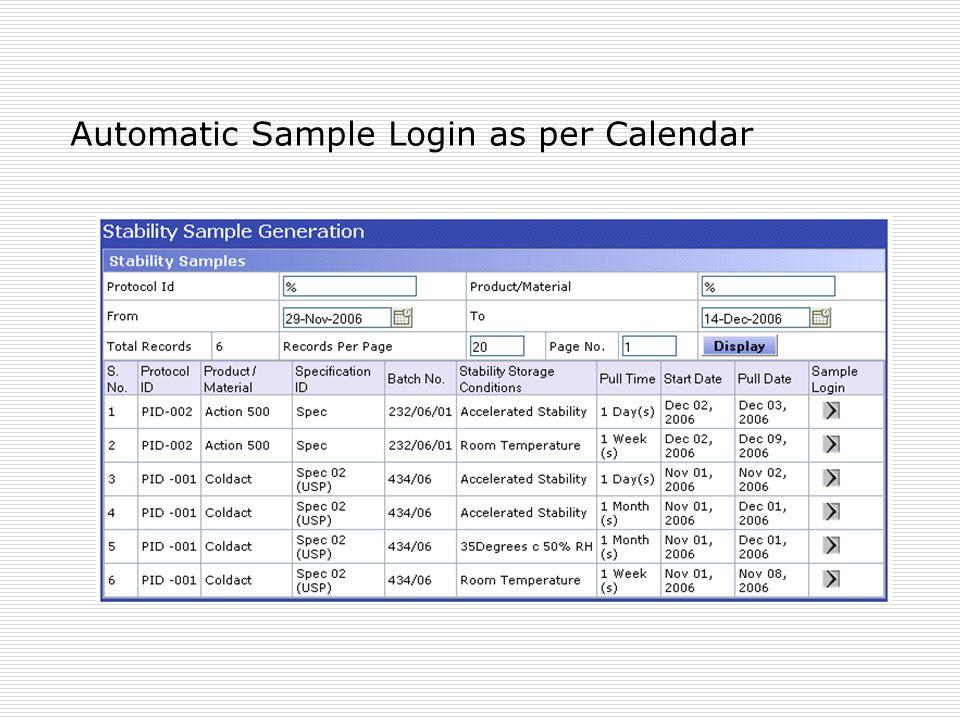 Automatic Sample Login as per Calendar