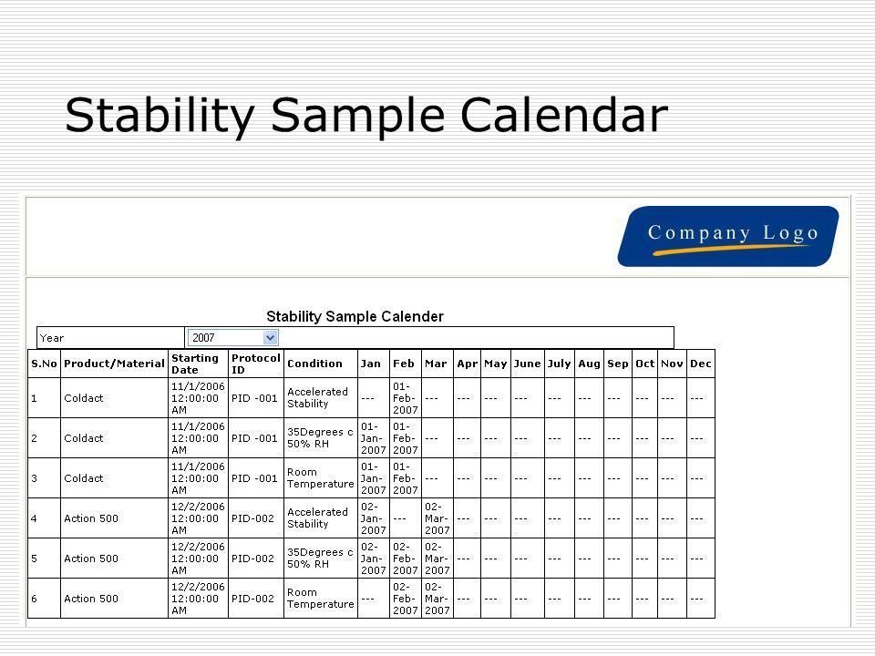 Stability Sample Calendar