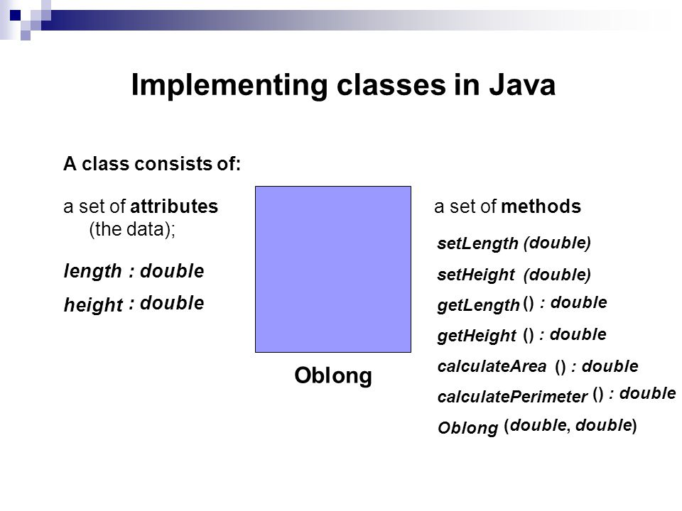 Implementing classes in Java A class consists of: a set of attributes (the data); a set of methods Oblong length height : double : double setLength se