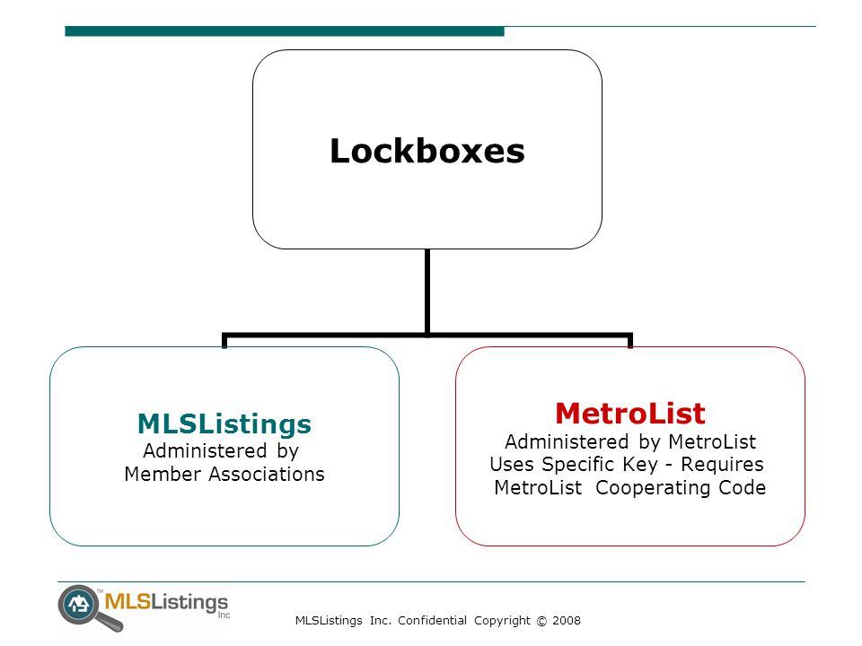 MLSListings Inc. Confidential Copyright © 2008 Lockboxes MLSListings Administered by Member Associations MetroList Administered by MetroList Uses Spec
