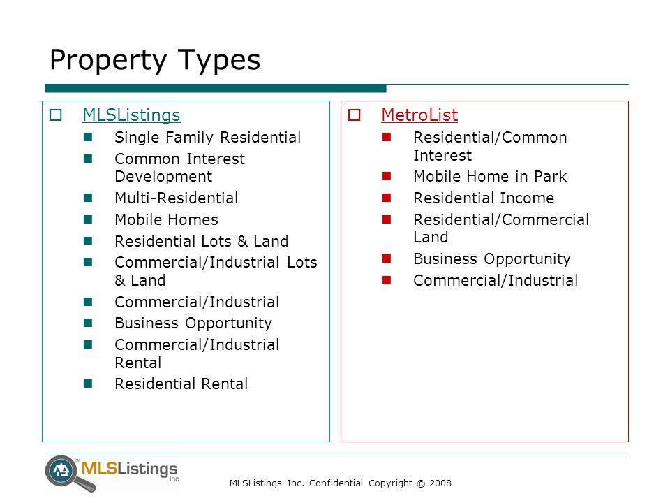 MLSListings Inc. Confidential Copyright © 2008 Property Types  MLSListings Single Family Residential Common Interest Development Multi-Residential Mo