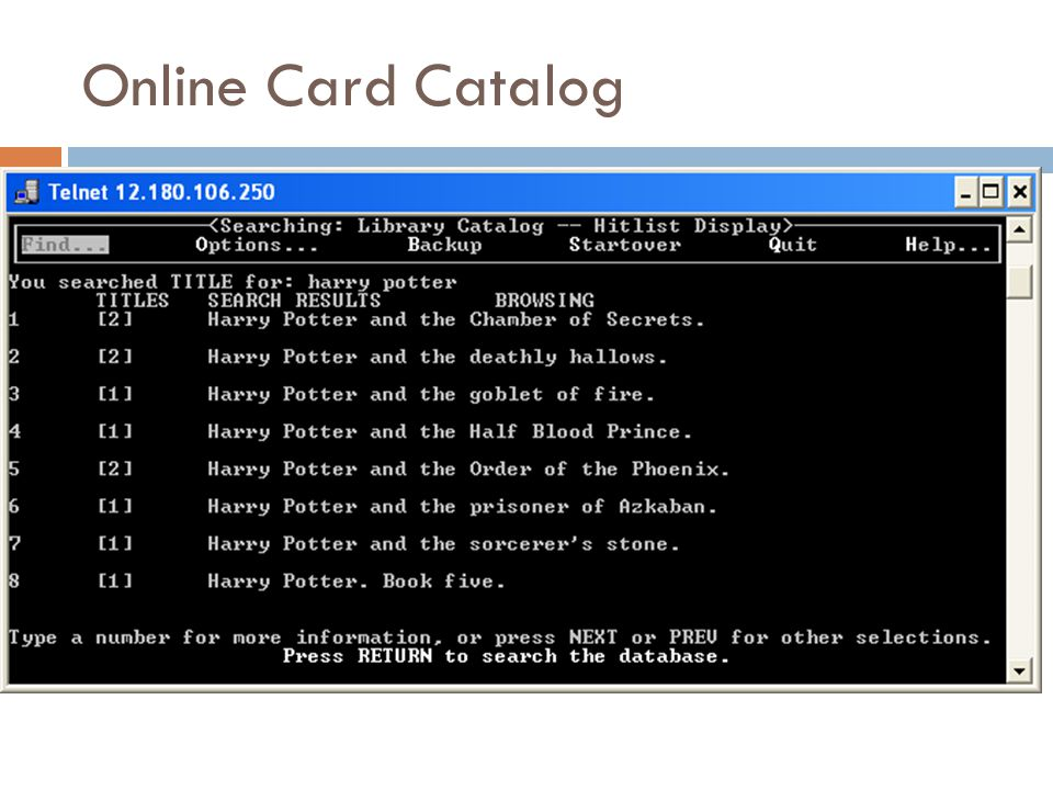 Online Card Catalog