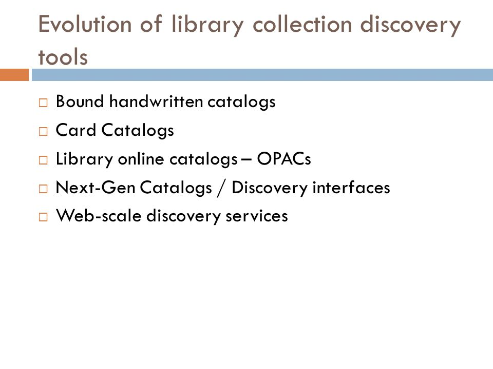 Beyond local discovery interfaces  Pre-populated indexes  Web-scale  Exploits the full depth and breadth of library collections  Beyond the bounds of the local library's collection  Targets the universe of objective, vetted library content