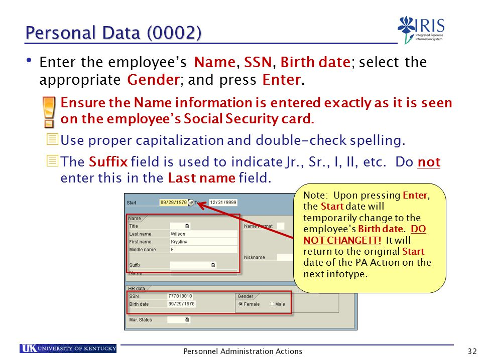 Personnel Data (0002) (Continued) (Optional) Specify the employee's Marital (Mar.) Status.