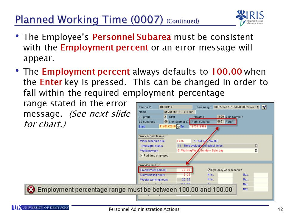 Employment Percentage Chart This chart shows the allowed percentage(s) for each Personnel Subarea (PSA).