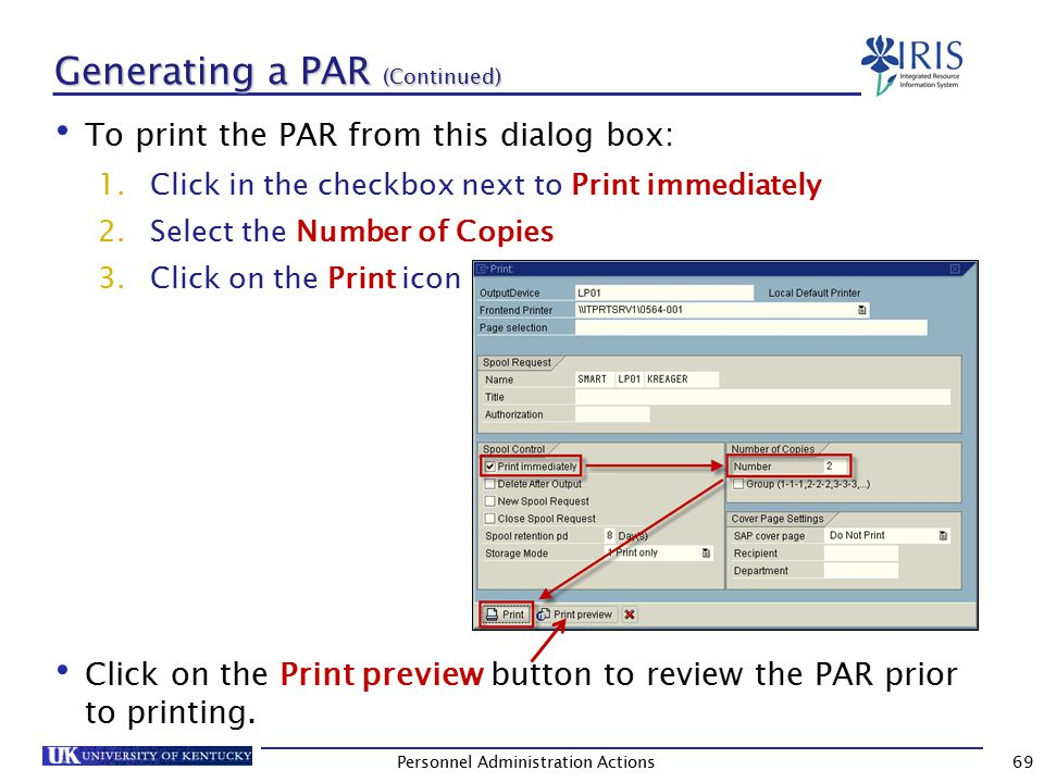 PAR – Print Preview After previewing the PAR for accuracy, click on the Print icon to print.