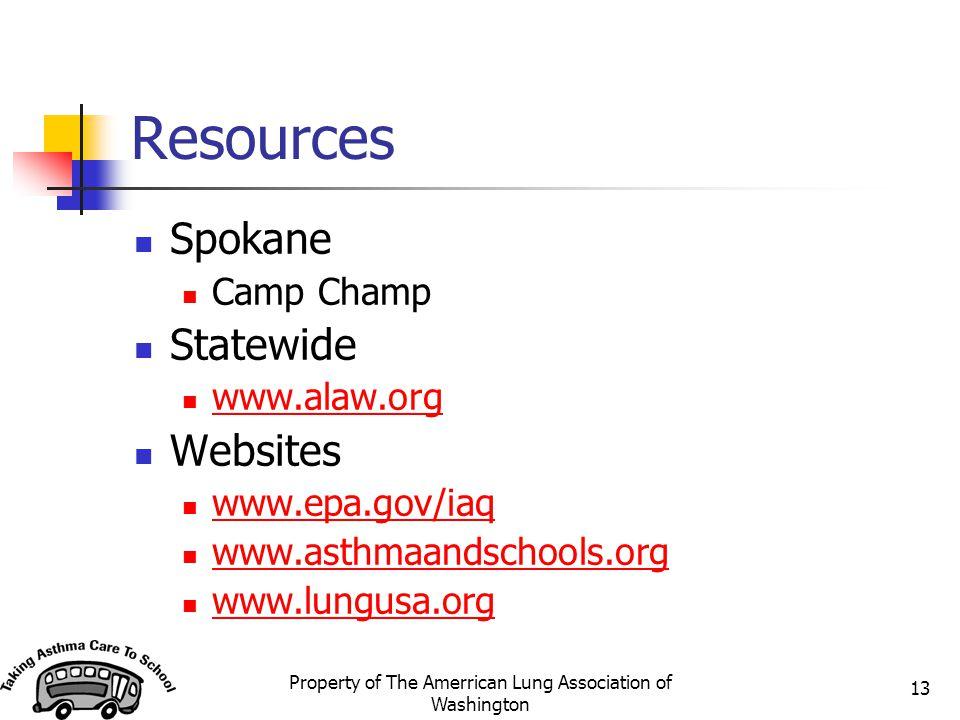 Property of The Amerrican Lung Association of Washington 13 Resources Spokane Camp Champ Statewide www.alaw.org Websites www.epa.gov/iaq www.asthmaandschools.org www.lungusa.org
