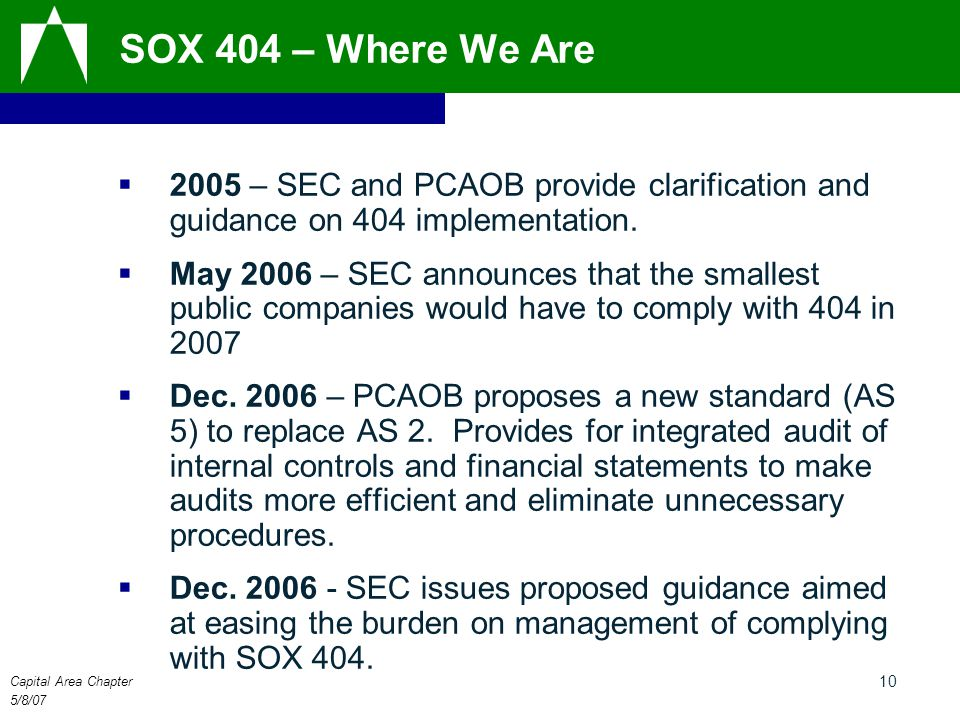 Capital Area Chapter 5/8/07 10 SOX 404 – Where We Are  2005 – SEC and PCAOB provide clarification and guidance on 404 implementation.  May 2006 – SE