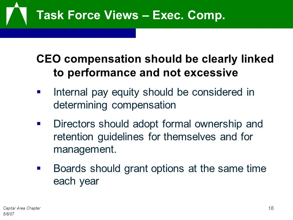 Capital Area Chapter 5/8/07 18 Task Force Views – Exec. Comp. CEO compensation should be clearly linked to performance and not excessive  Internal pa