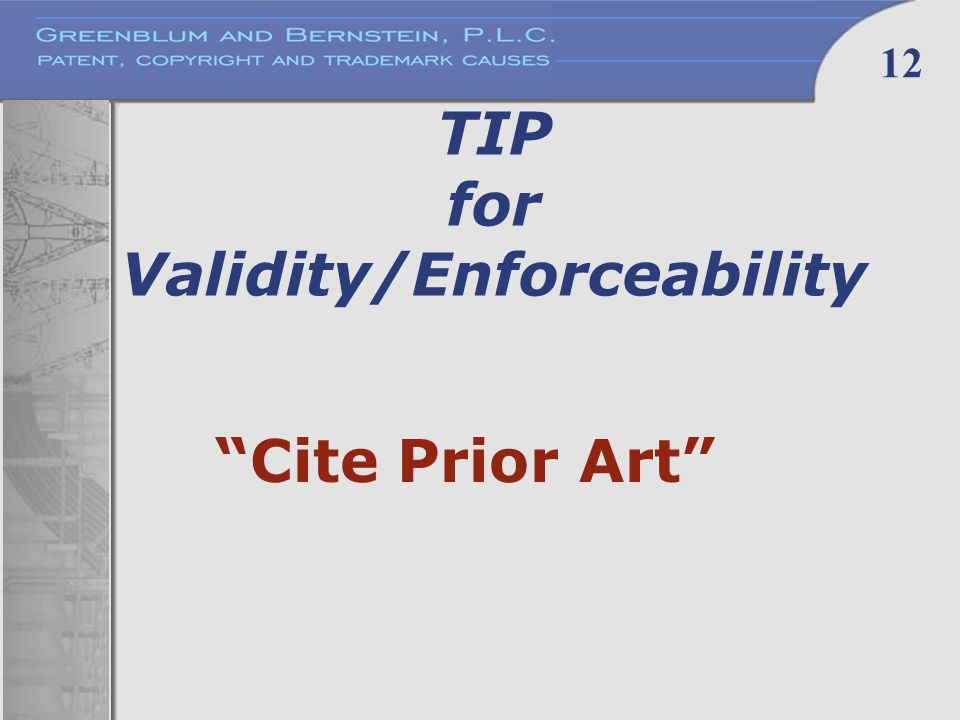 12 TIP for Validity/Enforceability Cite Prior Art