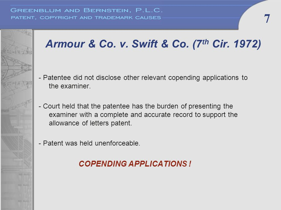7 Armour & Co. v. Swift & Co. (7 th Cir.