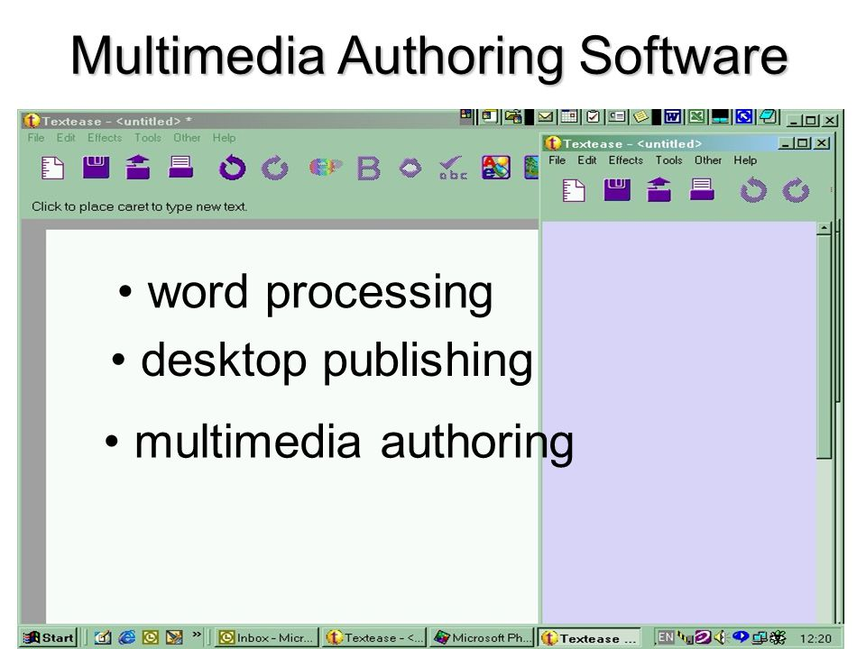 Multimedia Authoring Software word processing desktop publishing multimedia authoring