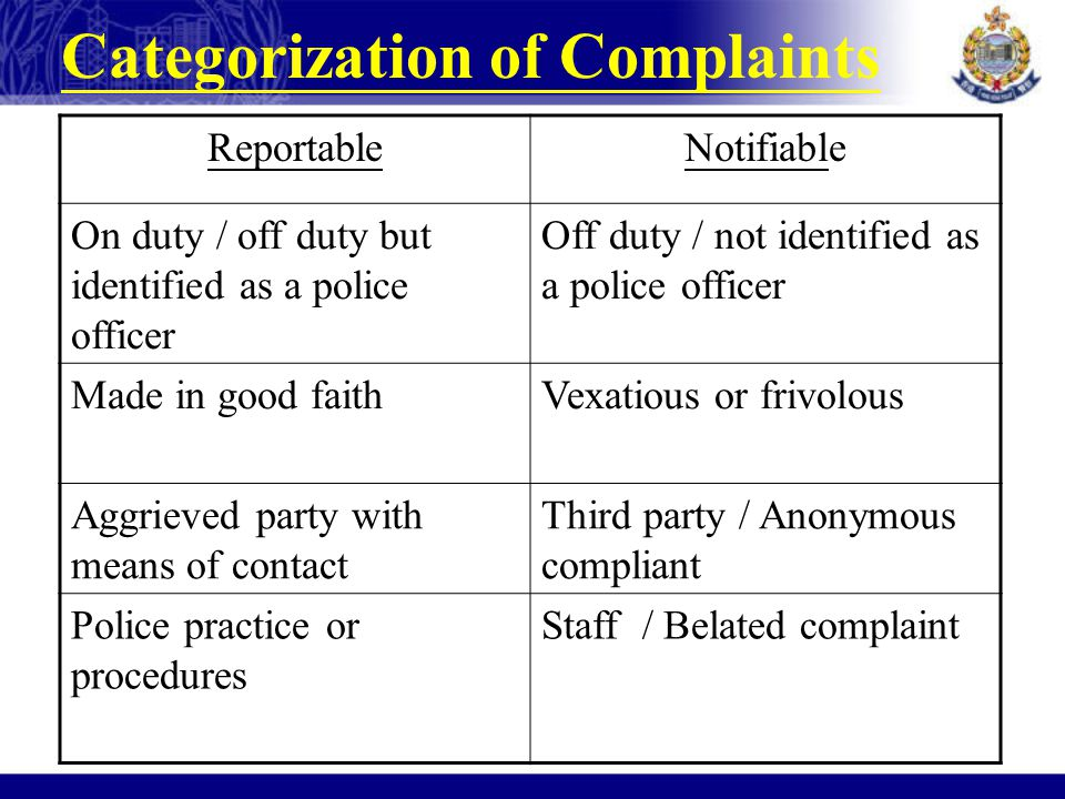 ReportableNotifiable On duty / off duty but identified as a police officer Off duty / not identified as a police officer Made in good faithVexatious o