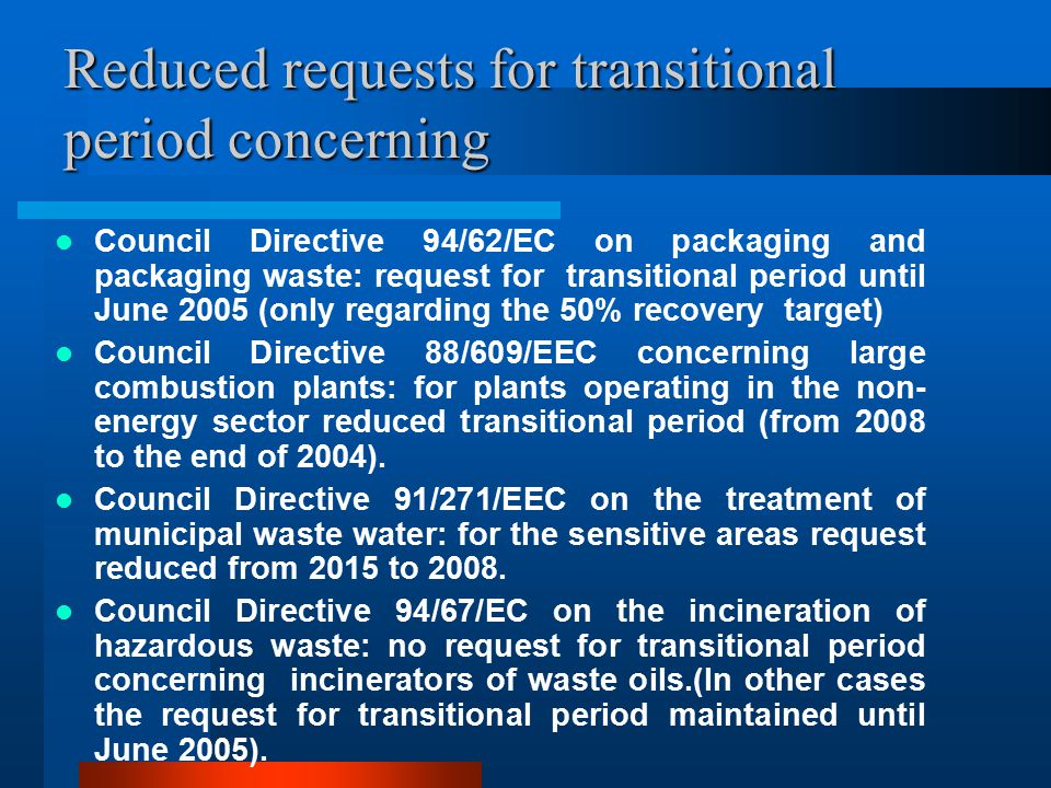 Reduced requests for transitional period concerning Council Directive 94/62/EC on packaging and packaging waste: request for transitional period until