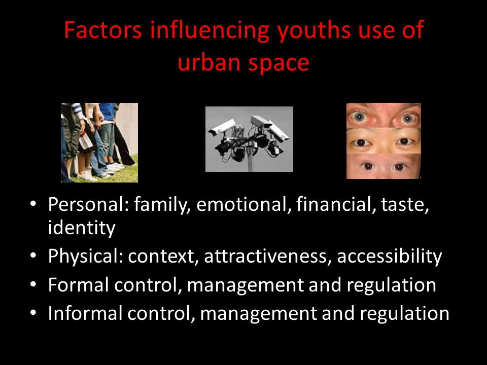 Factors influencing youths use of urban space Personal: family, emotional, financial, taste, identity Physical: context, attractiveness, accessibility Formal control, management and regulation Informal control, management and regulation