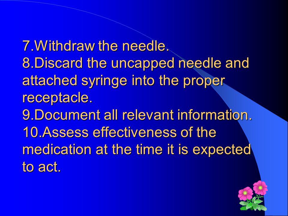 7.Withdraw the needle.