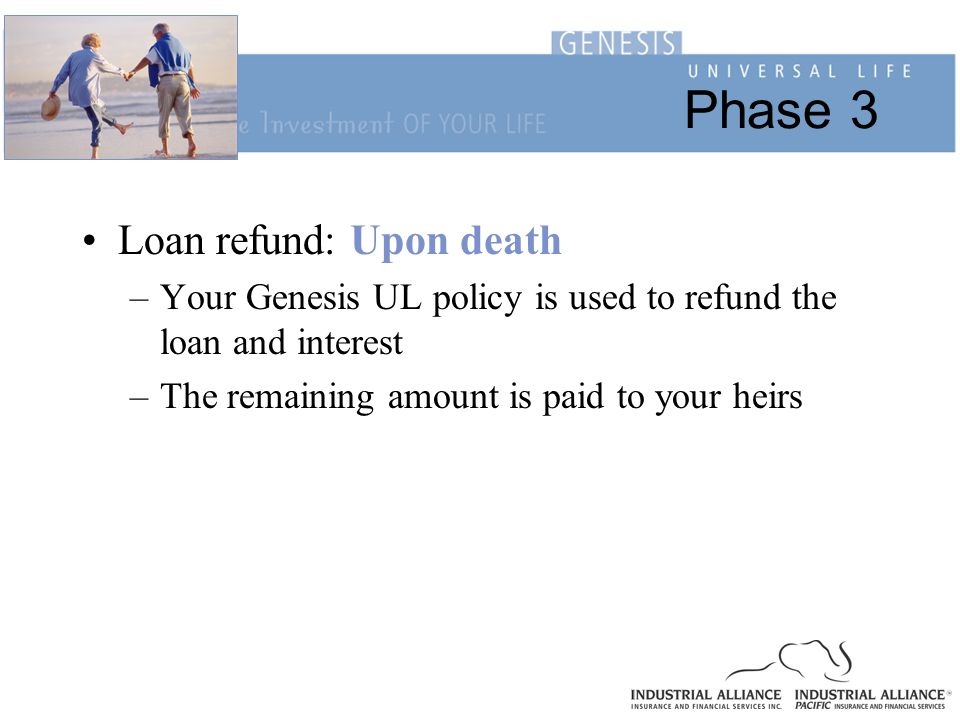Phase 3 Loan refund: Upon death –Your Genesis UL policy is used to refund the loan and interest –The remaining amount is paid to your heirs