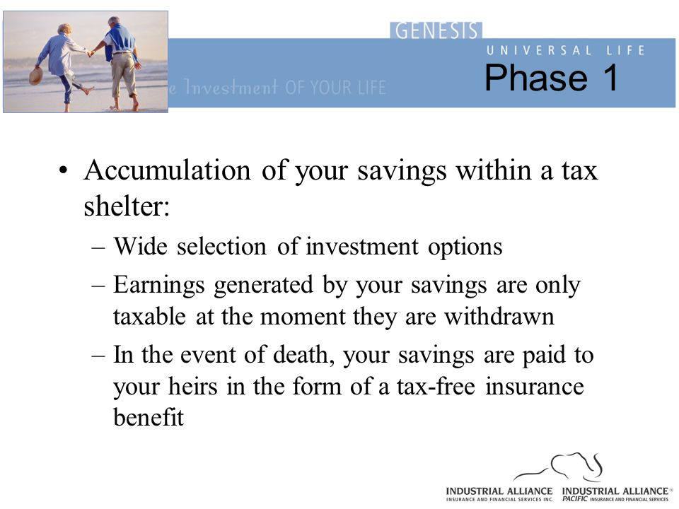 Phase 1 Accumulation of your savings within a tax shelter: –Wide selection of investment options –Earnings generated by your savings are only taxable at the moment they are withdrawn –In the event of death, your savings are paid to your heirs in the form of a tax-free insurance benefit