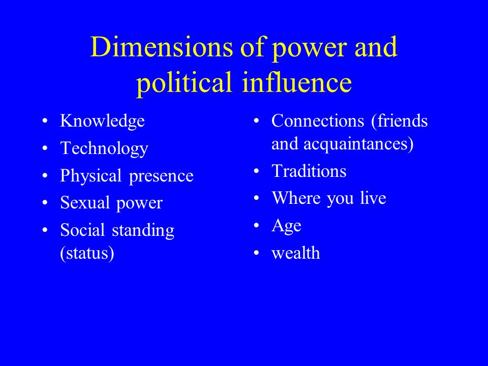 Dimensions of power and political influence Knowledge Technology Physical presence Sexual power Social standing (status) Connections (friends and acquaintances) Traditions Where you live Age wealth