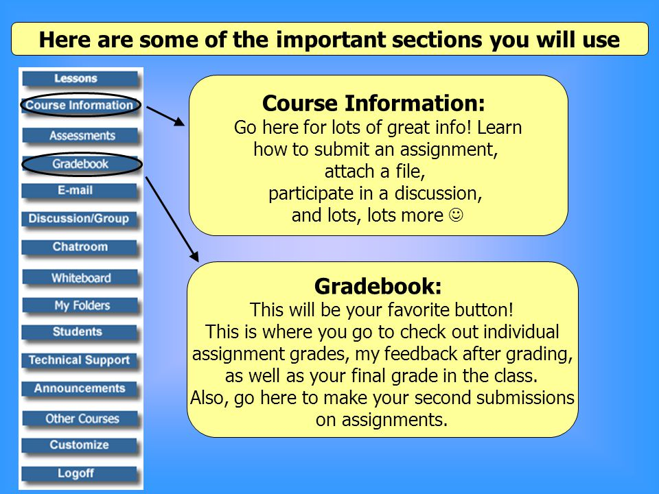 Here are some of the important sections you will use Course Information: Go here for lots of great info.