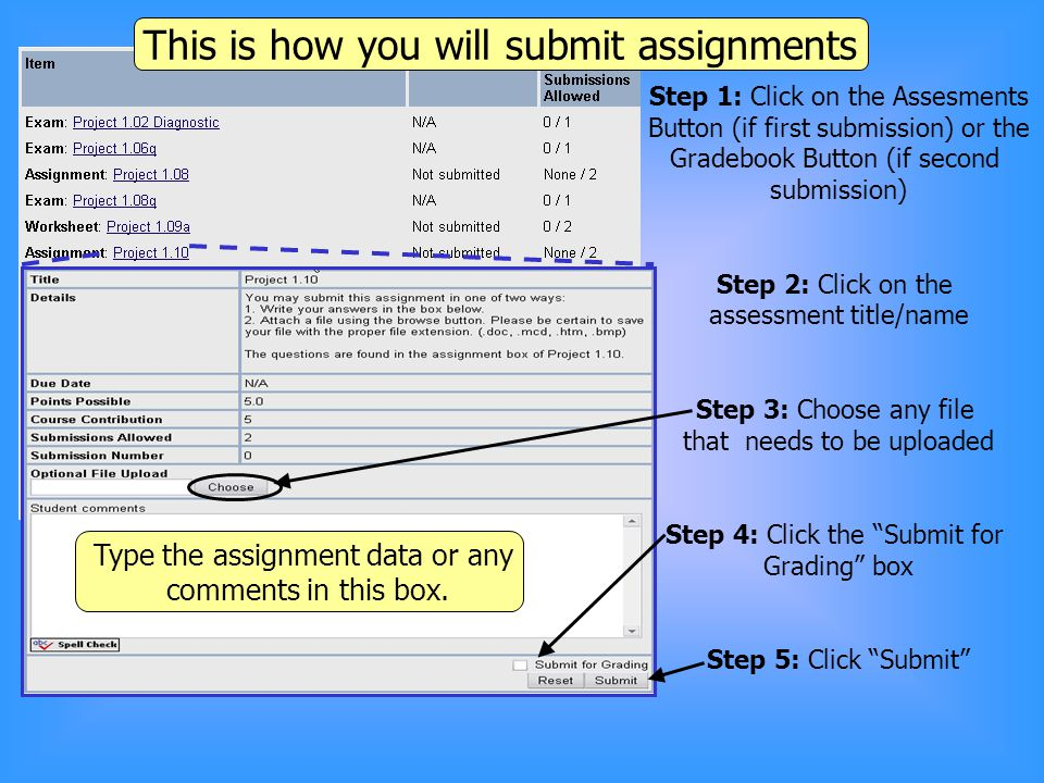 3. Type the date of your submission and any comments here This is how you will submit assignments Step 1: Click on the Assesments Button (if first sub
