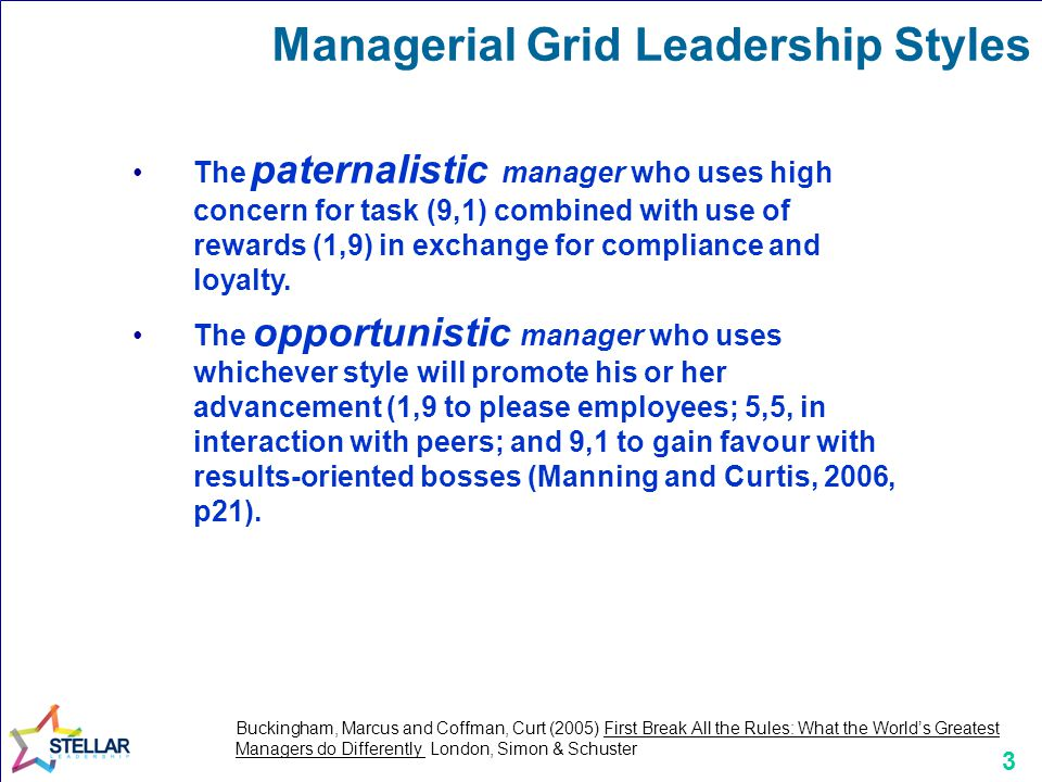 3 The paternalistic manager who uses high concern for task (9,1) combined with use of rewards (1,9) in exchange for compliance and loyalty. The opport