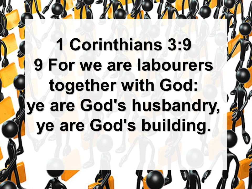 1 Corinthians 3:9 9 For we are labourers together with God: ye are God's husbandry, ye are God's building.