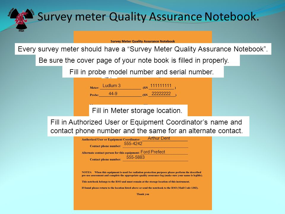 Survey meter Quality Assurance Notebook.