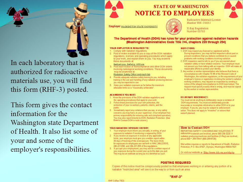 In each laboratory that is authorized for radioactive materials use, you will find this form (RHF-3) posted.