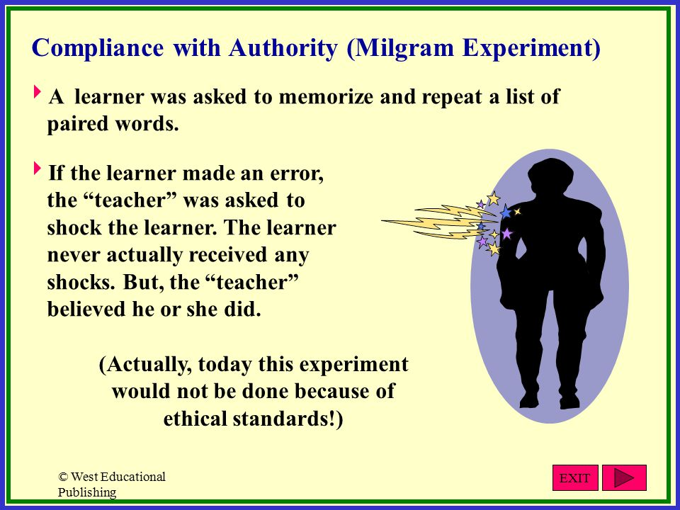 © West Educational Publishing Compliance with Authority (Milgram Experiment)  A learner was asked to memorize and repeat a list of paired words.
