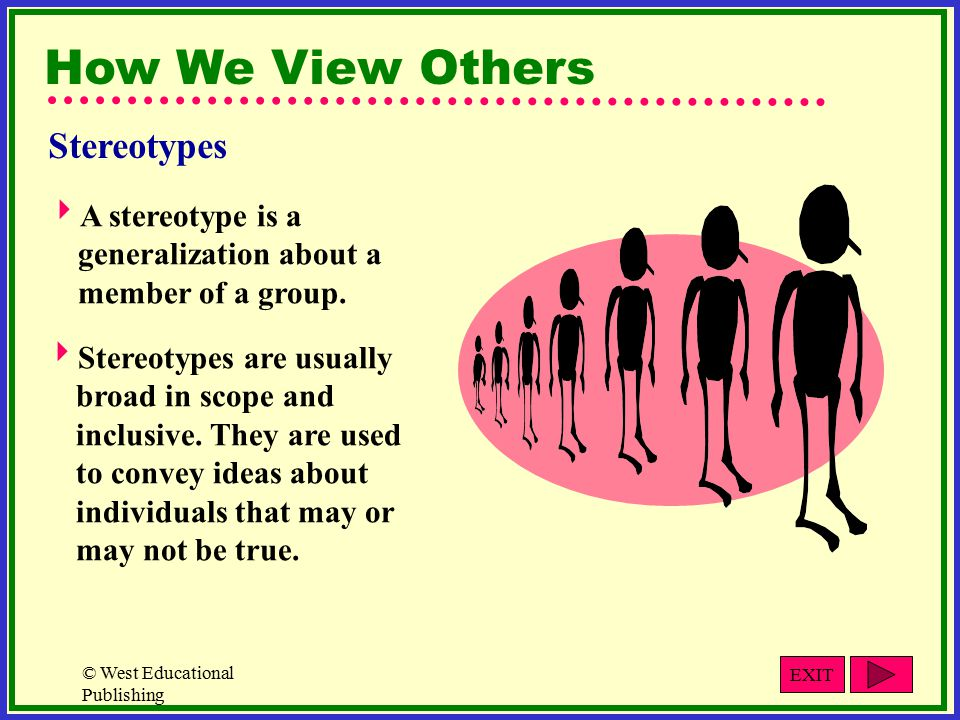 © West Educational Publishing How We View Others  A stereotype is a generalization about a member of a group.