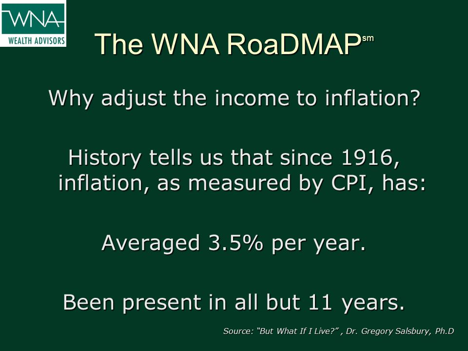 The WNA RoaDMAP sm Why adjust the income to inflation? History tells us that since 1916, inflation, as measured by CPI, has: Averaged 3.5% per year. B