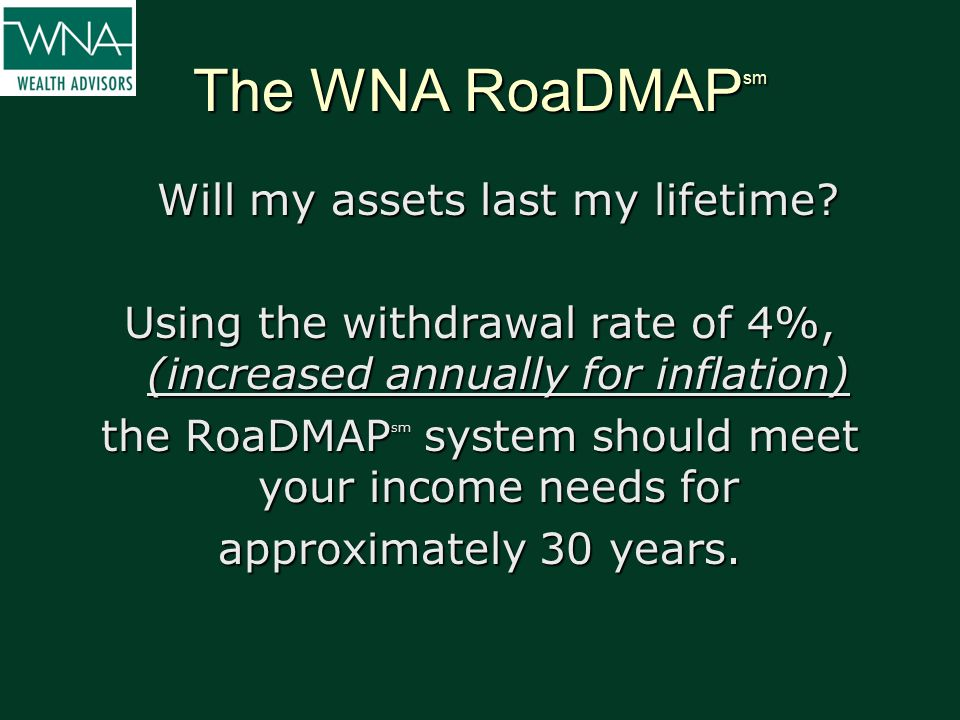 The WNA RoaDMAP sm Will my assets last my lifetime? Using the withdrawal rate of 4%, (increased annually for inflation) the RoaDMAP sm system should m