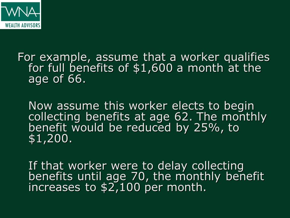 For example, assume that a worker qualifies for full benefits of $1,600 a month at the age of 66. Now assume this worker elects to begin collecting be