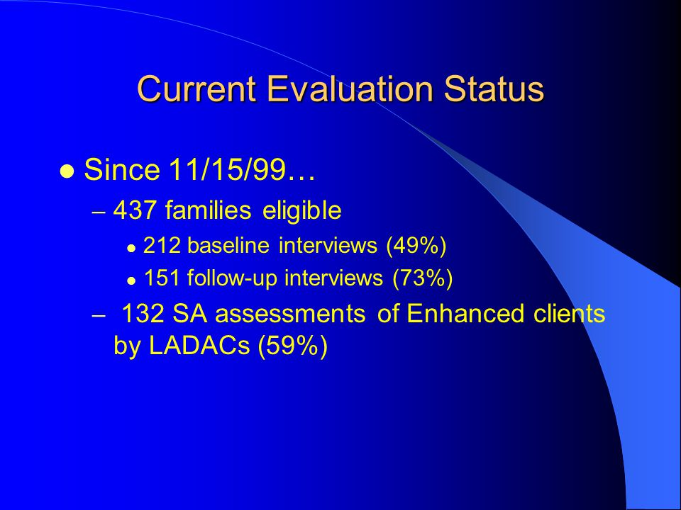 Current Evaluation Status Since 11/15/99… – 437 families eligible 212 baseline interviews (49%) 151 follow-up interviews (73%) – 132 SA assessments of