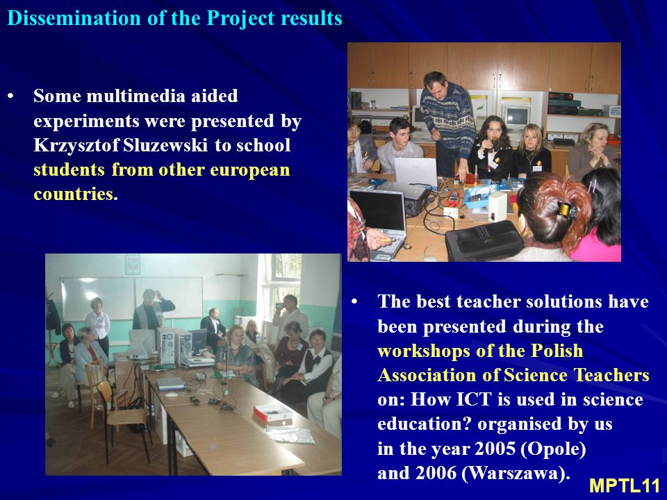 Dissemination of the Project results Some multimedia aided experiments were presented by Krzysztof Sluzewski to school students from other european countries.