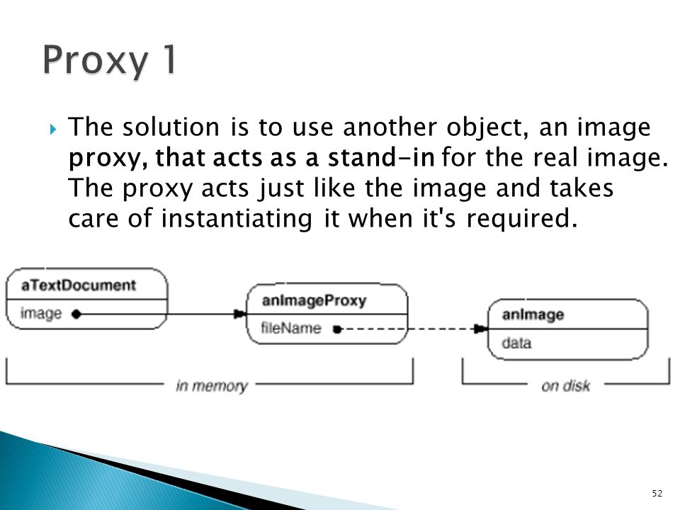  The solution is to use another object, an image proxy, that acts as a stand-in for the real image.