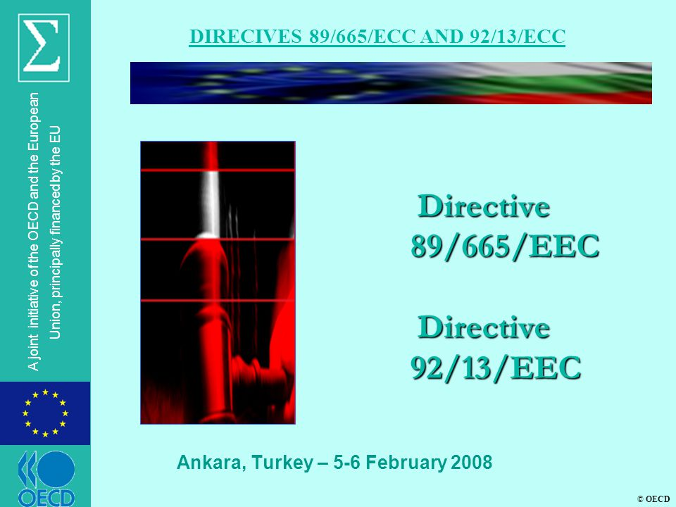 © OECD A joint initiative of the OECD and the European Union, principally financed by the EU Directive 89/665/ЕEC Directive 92/13/ЕEC Ankara, Turkey – 5-6 February 2008 DIRECIVES 89/665/ECC AND 92/13/ECC