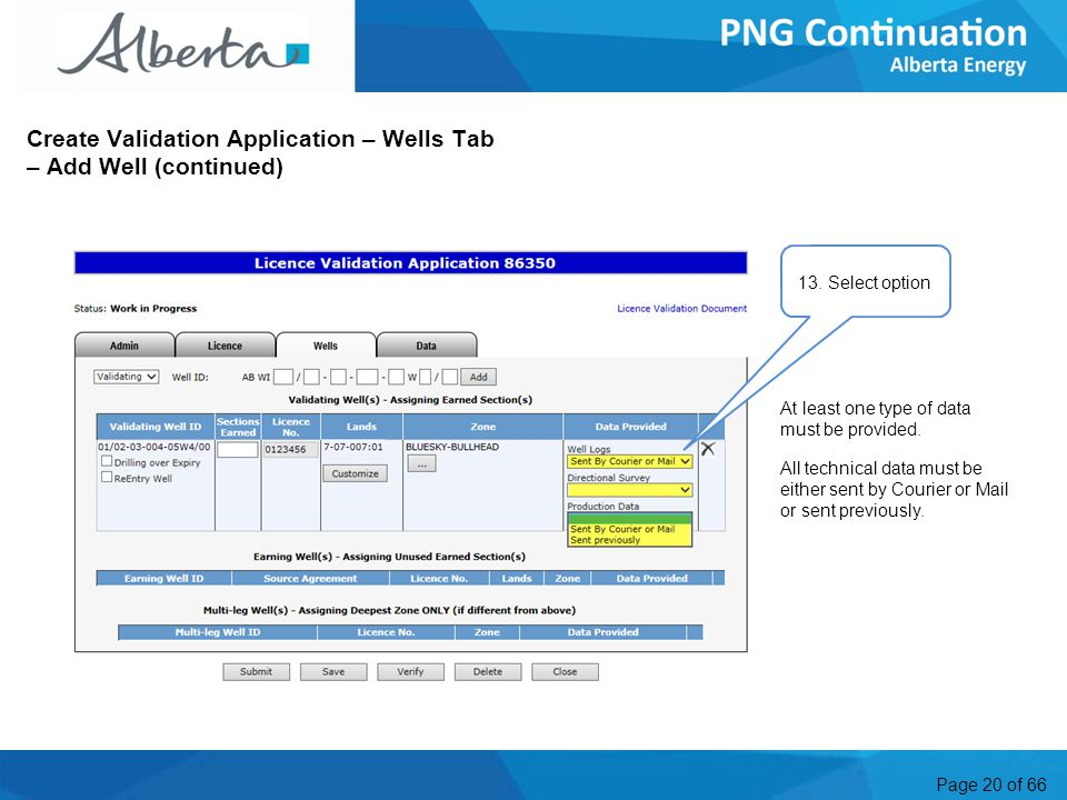 Page 20 of 66 Create Validation Application – Wells Tab – Add Well (continued) 13.