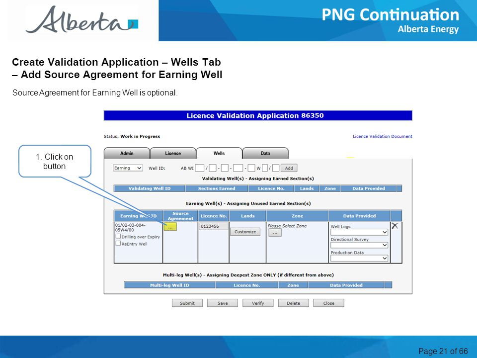 Page 21 of 66 Create Validation Application – Wells Tab – Add Source Agreement for Earning Well 1.