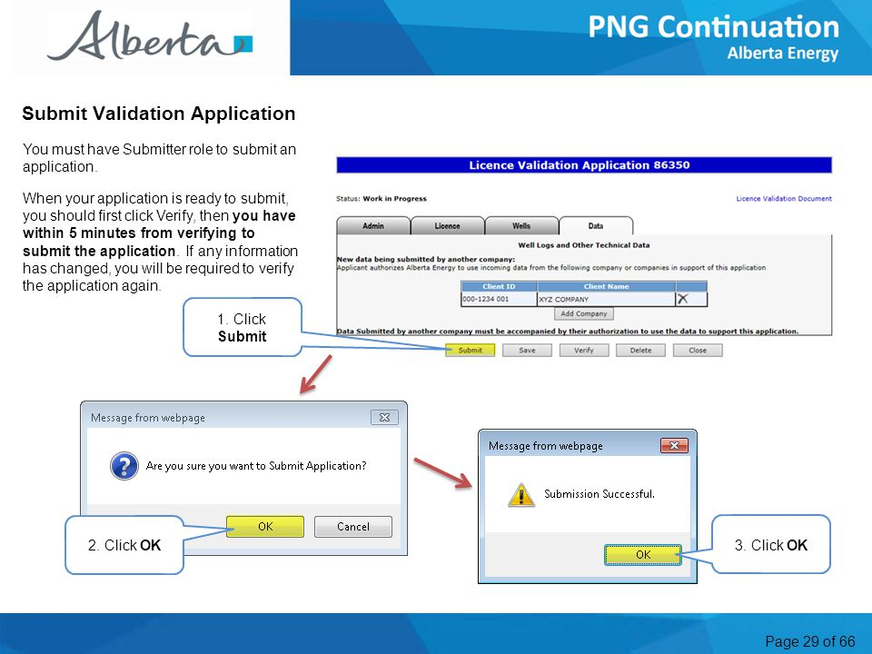 Page 29 of 66 Submit Validation Application You must have Submitter role to submit an application.