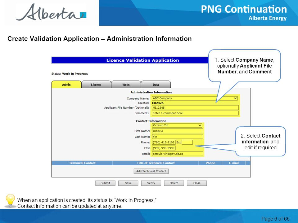 Page 6 of 66 Create Validation Application – Administration Information 1.