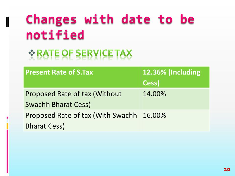 Present Rate of S.Tax 12.36% (Including Cess) Proposed Rate of tax (Without Swachh Bharat Cess) 14.00% Proposed Rate of tax (With Swachh Bharat Cess)