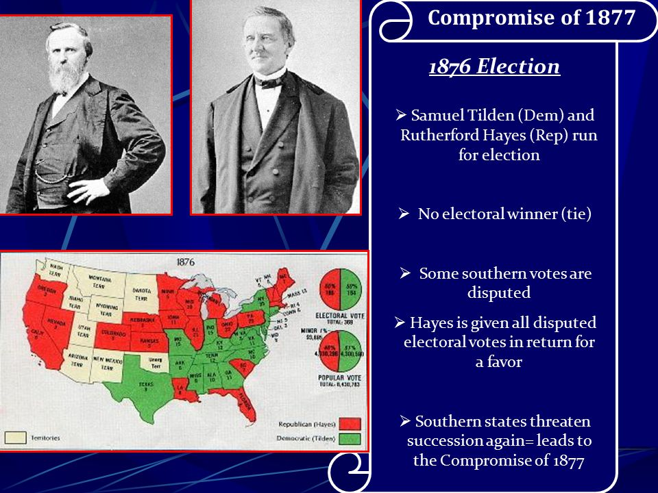 Reconstruction  North becomes weary of Reconstruction  Republicans split over Grant scandals Credit Mobilier – Railroad money scam Whiskey Ring – tax evasion scam  Panic of 1873  Radical Republicans have less and less control over South Reconstruction Ends….