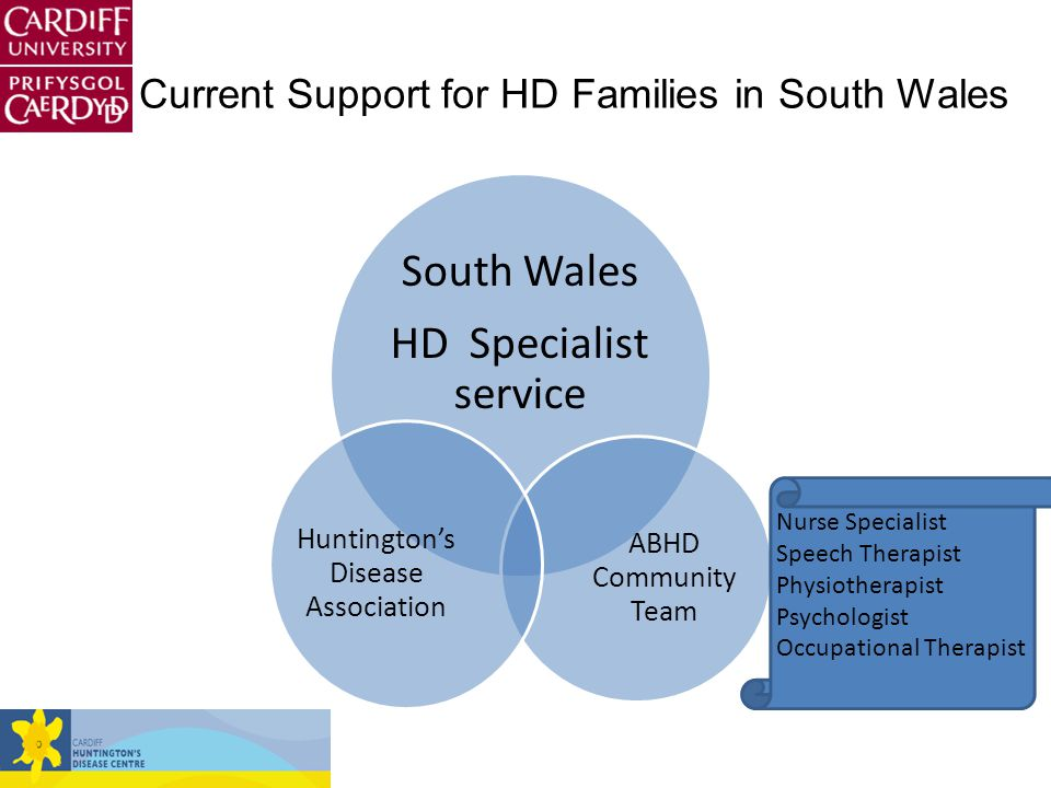 South Wales HD Specialist service ABHD Community Team Huntington's Disease Association Nurse Specialist Speech Therapist Physiotherapist Psychologist