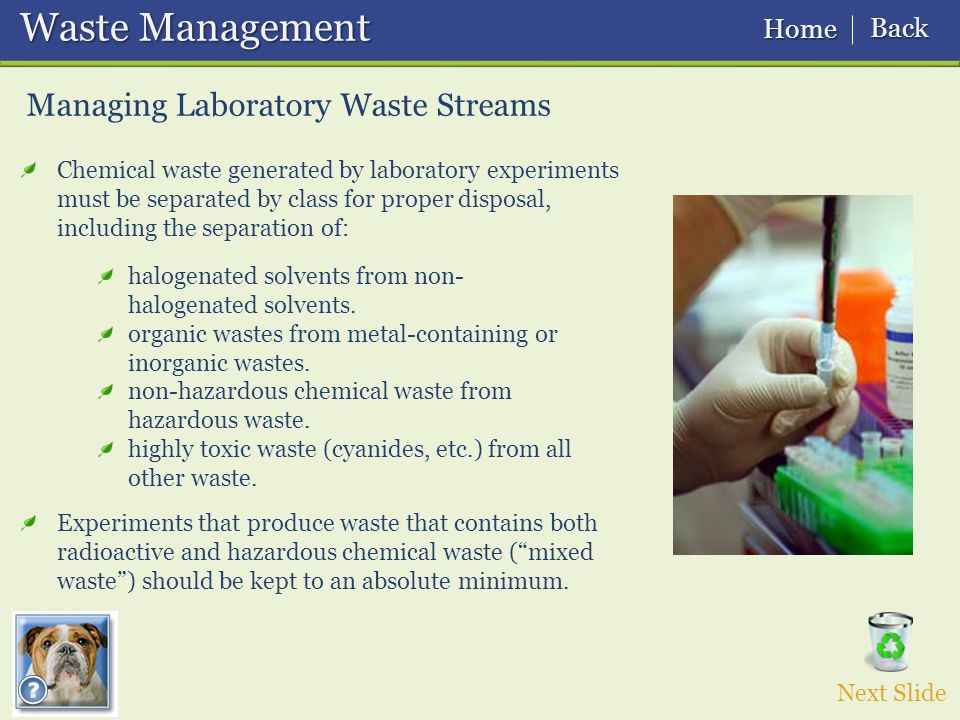 Waste Management Waste Management Managing Laboratory Waste Streams Next Slide Chemical waste generated by laboratory experiments must be separated by class for proper disposal, including the separation of: Experiments that produce waste that contains both radioactive and hazardous chemical waste ( mixed waste ) should be kept to an absolute minimum.