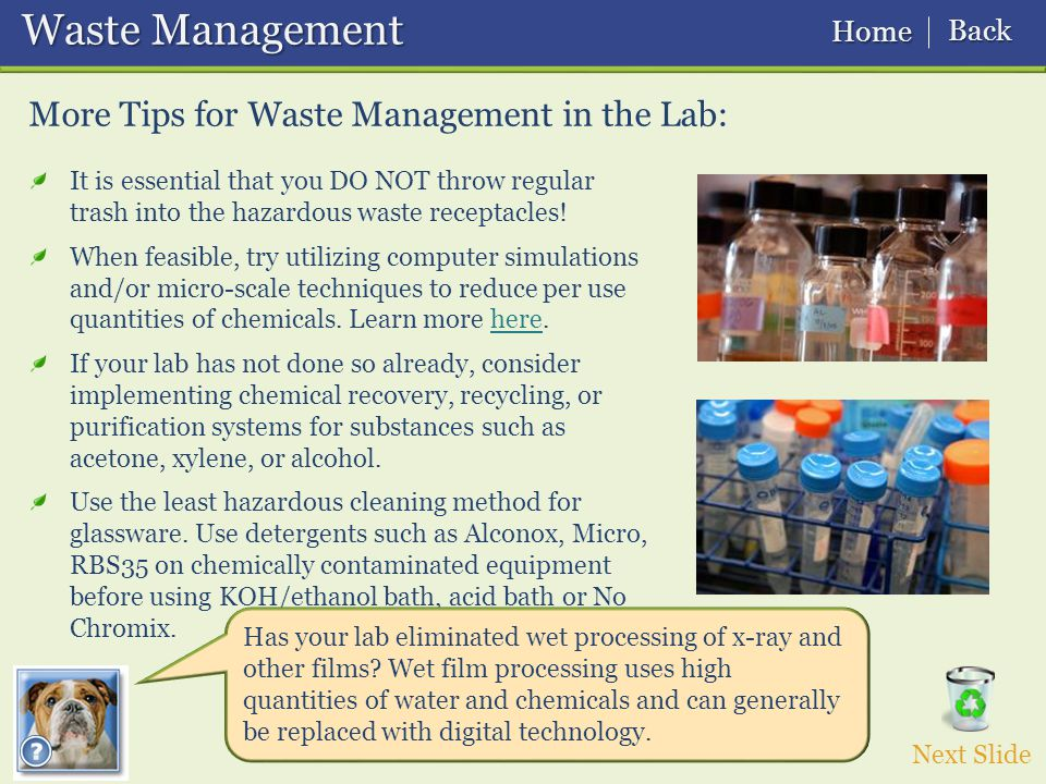 Waste Management Waste Management More Tips for Waste Management in the Lab: It is essential that you DO NOT throw regular trash into the hazardous waste receptacles.