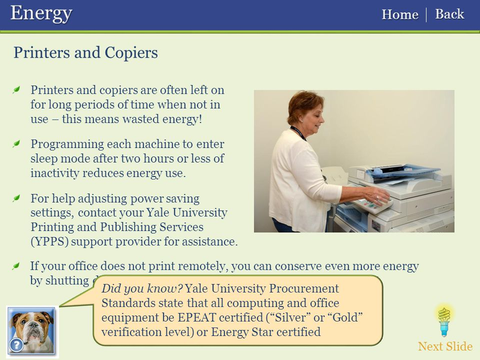Printers and copiers are often left on for long periods of time when not in use – this means wasted energy.
